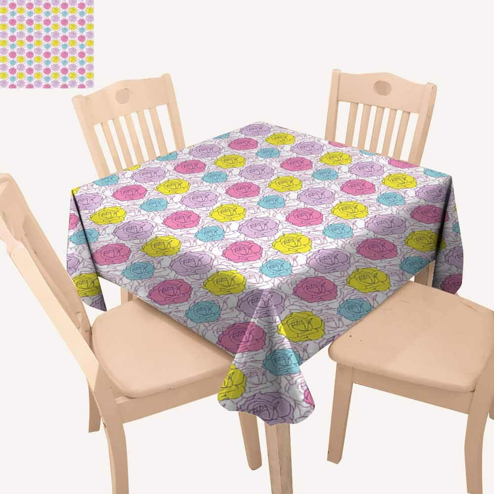 haommhome テーブルクロス ビンテージ 布製 抽象的 ロマンチック ローズ ブーケ カラフル ヴィネット 葉 アレンジメント 春の花 テーブルクロス カバー 幅36インチ x 長さ36インチ   B07MMLS56B