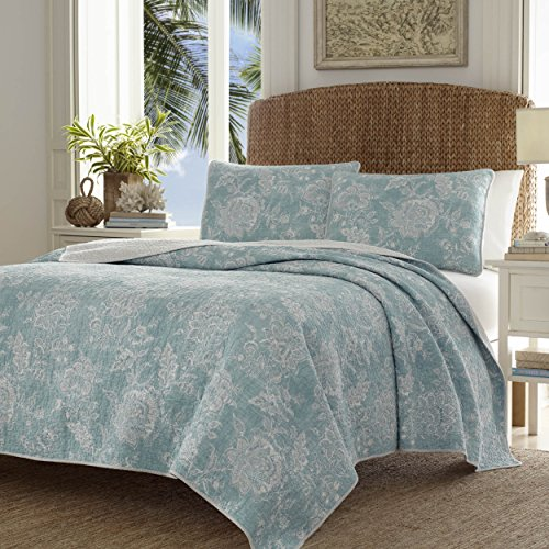 Tommy Bahama 220120 Tidewater Jacobean Reversible Quilt Set, King, Blue/Green ()