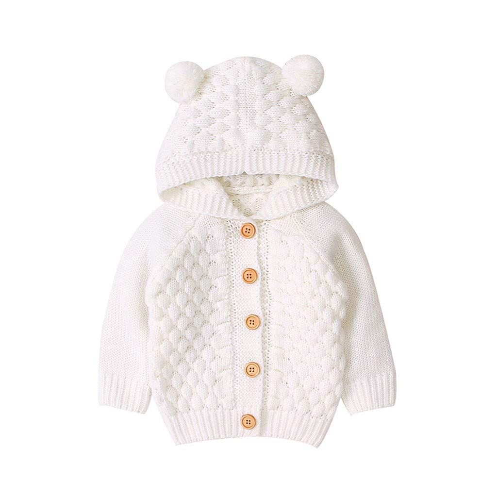 Newborn Infant Baby Girl Boy Hoodies Coat Winter Jacket Warm Coat Knit Outwear Hooded Sweater 3M-1Y