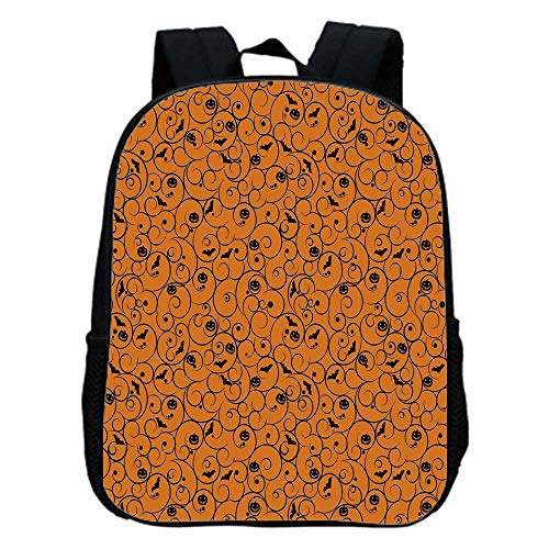 Halloween Fashion Kindergarten Shoulder Bag,Floral Swirls with Dots