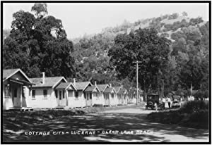 Lucerne, California - View of Cottage City by Clear Lake Beach (36x21 3/8 Framed Gallery Wrapped Stretched Canvas)