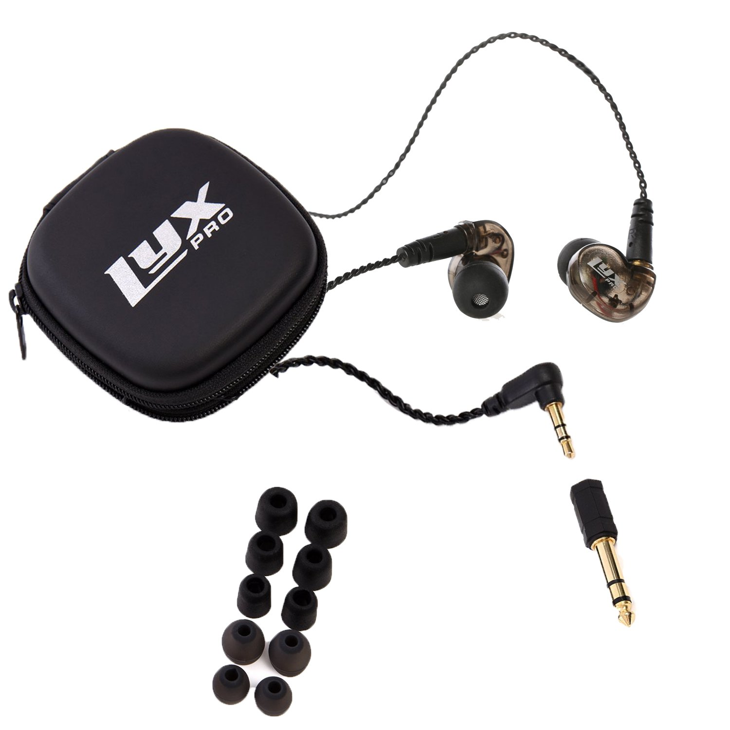 LyxPro ERP-10 in-Ear Monitors with Professional, Universal Fit Earphones for Musicians – Detachable Cables, Carrying Case 6 Pairs of Tips for Studio or Stage