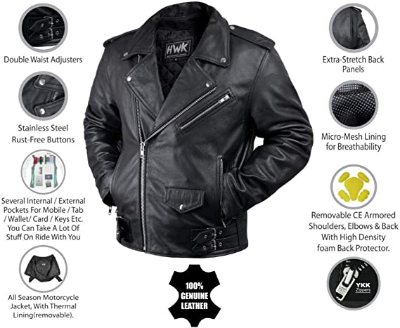 MOTORCYCLE LEATHER JACKET FOR MEN WITH ARMOR BIKERS RIDING PROTECTIVE ARMORED VINTAGE DISTRESSED JACKET BROWN DC-4090 S