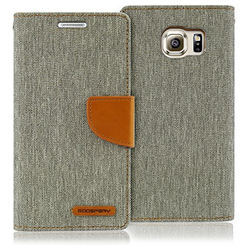 Goospery Canvas Wallet for Samsung Galaxy S6 Case (2015) Denim Stand Flip Cover (Gray) S6-CAN-Gry (Case Avant Samsung Phone Wallet)