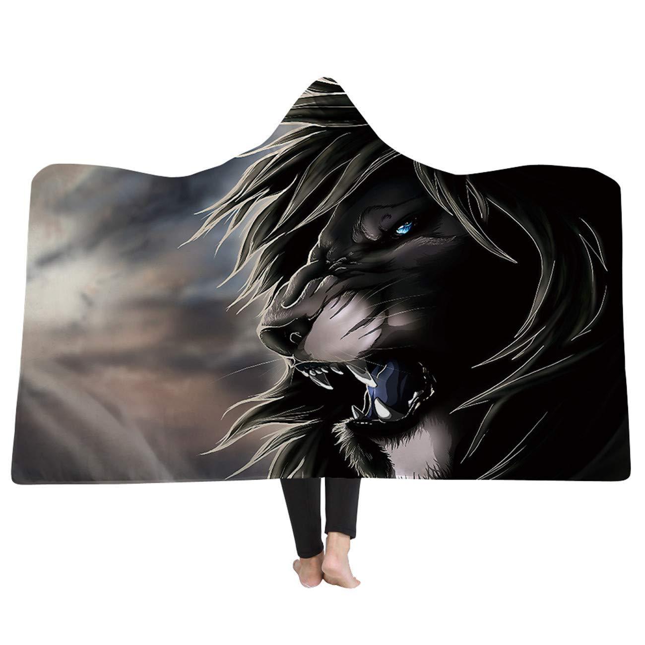 lwfushi 3D AnimalHooded Blanket Wolf Tiger Lion Lifelike Pattern Blanket Super Soft Sherpa Fleece Blankets Warm Wearable Blankets Kids and Adults Cozy Blankets (Adults 59''x 79'' inch) by AMTAN