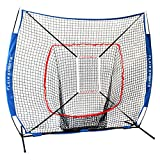 Flair Sports Baseball & Softball Net for Hitting & Pitching Heavy Duty 7x7 Pro Series | Indoor & Outdoor Training Net | Bow Frame + Bonus Strike Zone Included (Blue/Red)