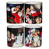 Holiday Portraits Coca-Cola Santa Stoneware Mugs Set 4 by Sakura