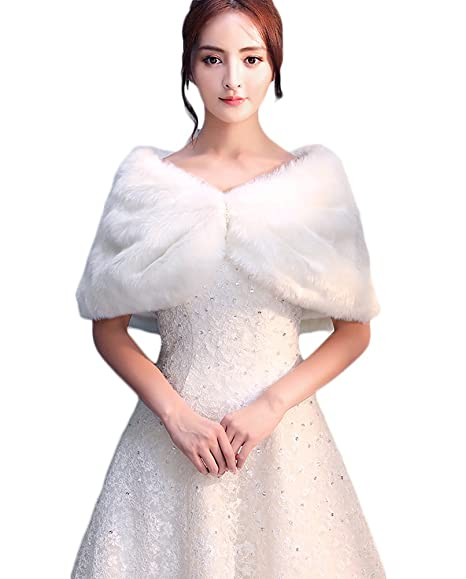 d6a22703001d Icegrey Femme Chaud Boléro de Soirée Avec Décoration Perle Blanc Châle  Mariage en Fausse Fourrure étole Blanc Ivoire  Amazon.fr  Vêtements et  accessoires