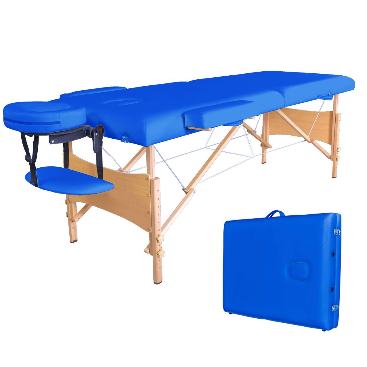 Blue Portable Massage Table w/Free Carry Case T1 Chair Bed Spa Facial