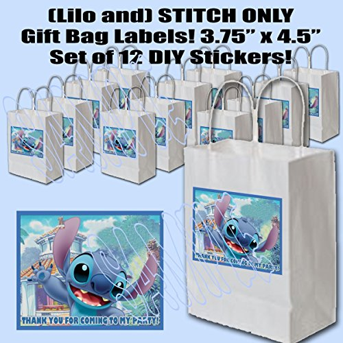 Stitch ONLY of Lilo and Stitch Party Favors Supplies Decorations Gift Bag Label STICKERS ONLY 3.75