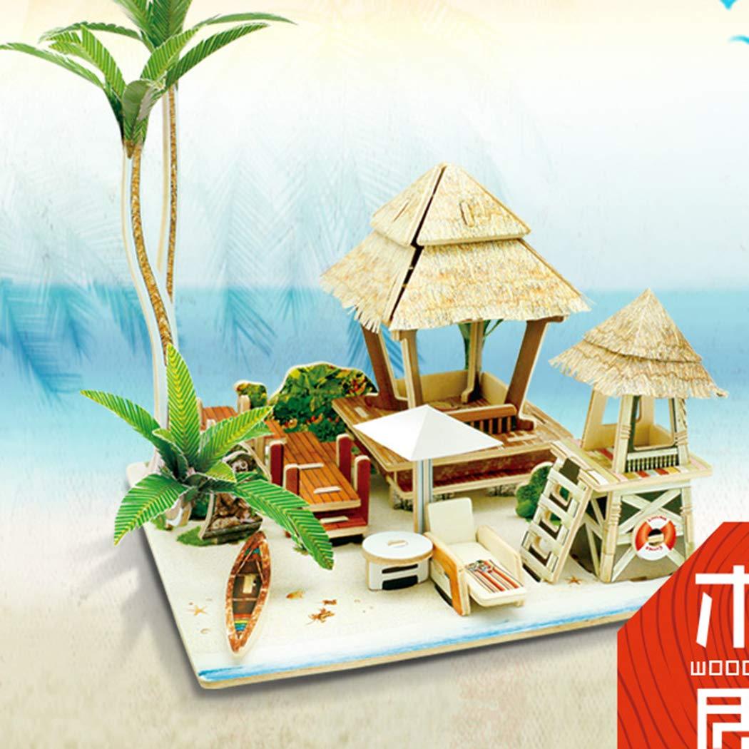 クリエイティブDIY3D木製ハウススプライシングモデル おもちゃのごっこ遊びジグソーパズル マルチカラー 444212341  Pattern13 B07JB7LFF5