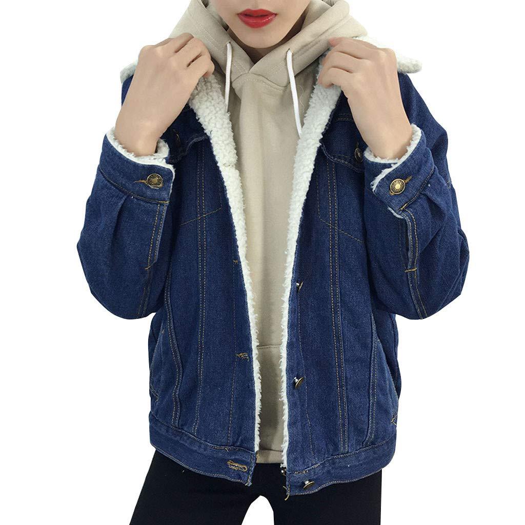 Sunsee Winter Womens Blue Jean Jacket Thicken Warm Fleece Denim Coat Punk Outwear New Halloween Christmas Coat