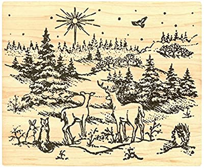 """{Single Count} Unique & Custom (4"""" by 4 3/4"""" Inches) """"Christmas Night Forest Creatures Scene"""" Rectangle Shaped Genuine Wood Mounted Rubber Inking Stamp"""