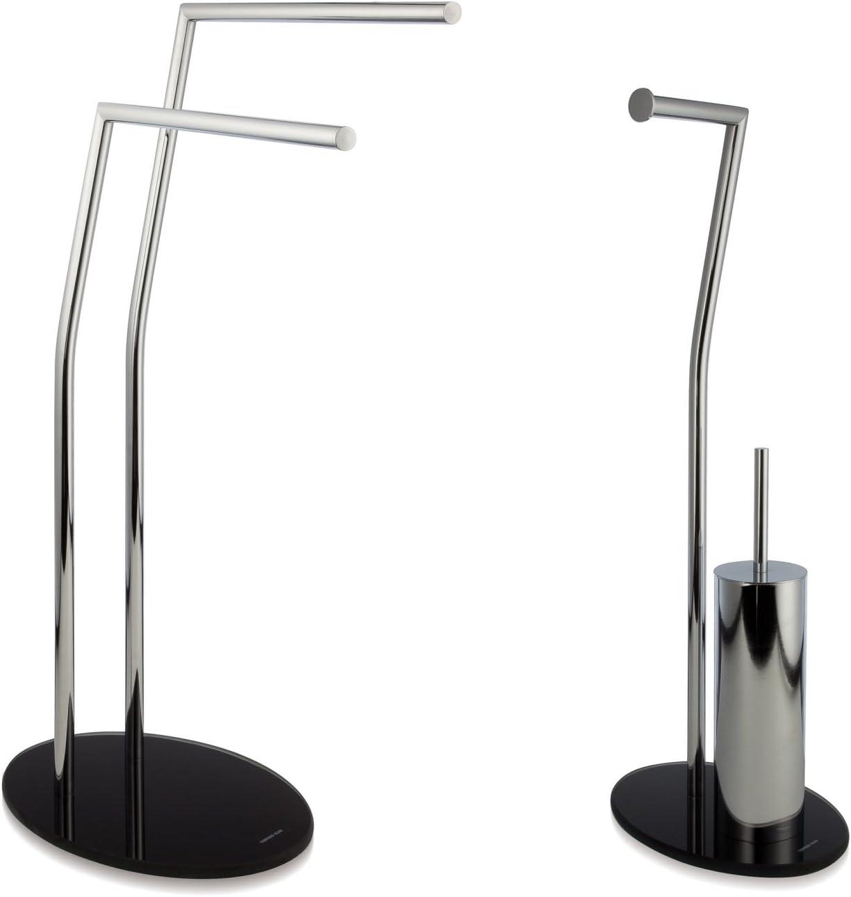 m/öve Stand Handtuchhalter mit bruchsicherem Glas verchromt 50 x 23 x 82 cm silver