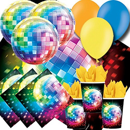 70s Disco Fever Party Pack For 8 - Plates, Cups, Napkins, Balloons and Tablecover by Signature Balloons