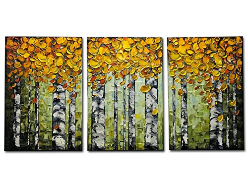(Desihum-3 Piece Textured Canvas Wall Art Yellow Forest Artwork 3D Hand-Painted Modern Oil Paintings for Living)