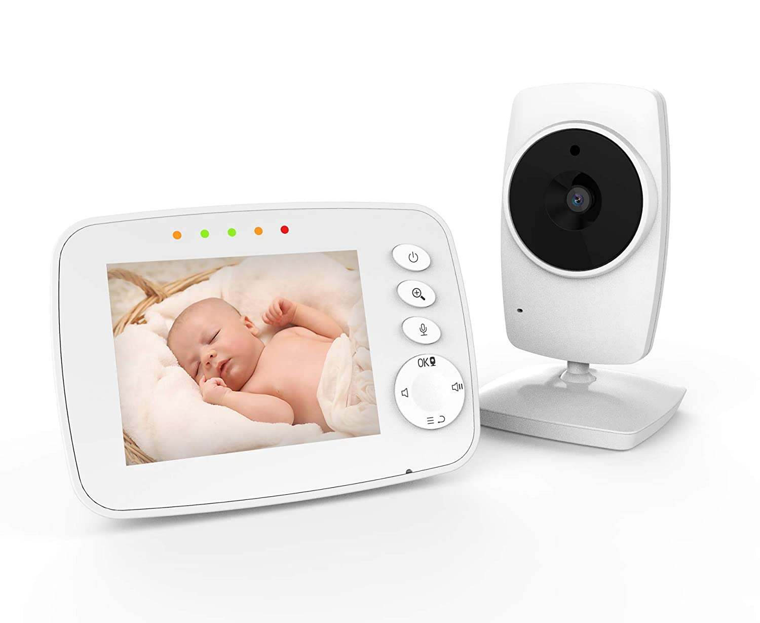 "IKQIEOR Baby Monitor- 3.2"" Video Baby Monitor with Camera and Video, Two-Way Audio, Infrared Night Vision, 2 x Zoom and Lullabies Play (3.2 inch)"