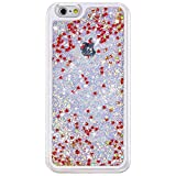 Rinastore iPhone 6s case,iphone 6 case,Creative Design Flowing Quicksand Moving Stars Bling 3D Glitter Floating Dynamic Flowing Case Liquid Cover for Iphone 6 4.7inch (Red heart)