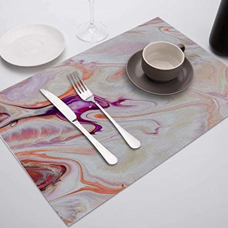 Placemat 1pc Colorful Marble Printed Placemat For Dining Table Tableware Durable Dinner Table Mats Drink Coasters Cup Mat Table Decoration Accessories Home Kitchen