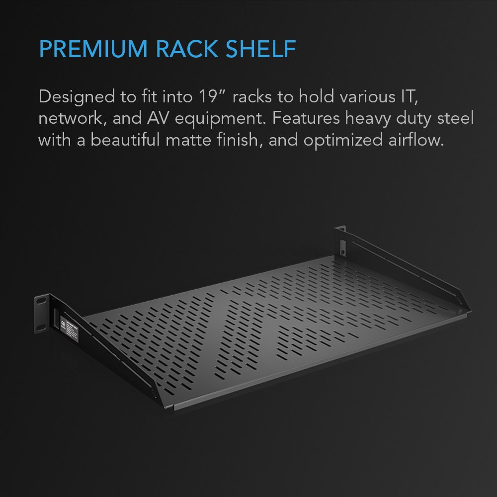 """AC Infinity Vented Cantilever 1U Universal Rack Shelf, for 19"""" equipment racks. Heavy-Duty 2.4mm Cold Rolled Steel, 60lbs Capacity by AC Infinity (Image #2)"""