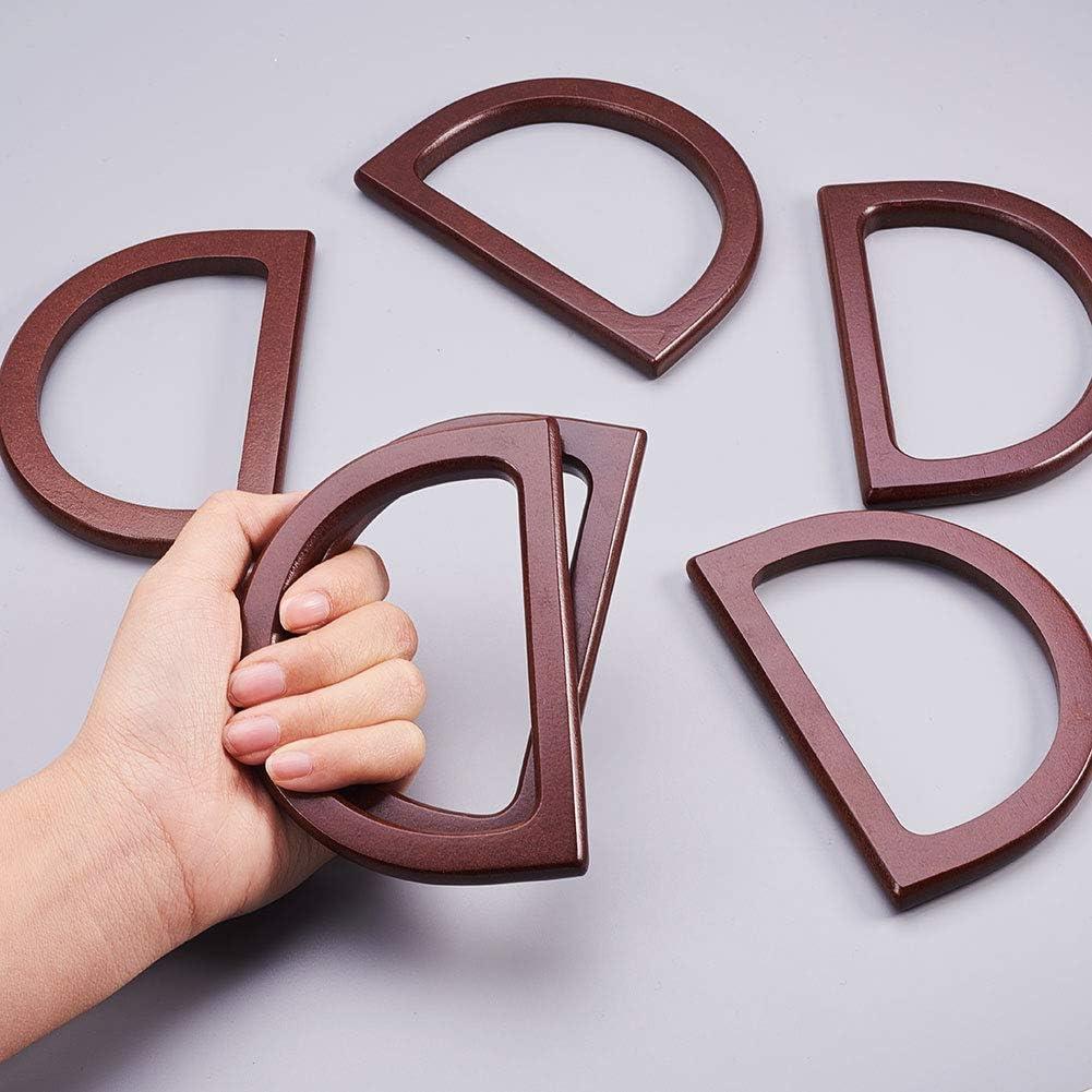 Dark Brown WANDIC Wooden D Shaped Handles 6 Pcs Handle Replacement for Handbags Purse Handles