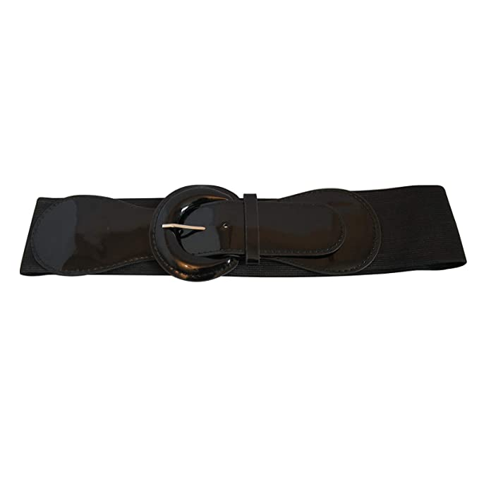 New Ladies Black Studded Buckle Elasticated Wide Stretch One Size Belts