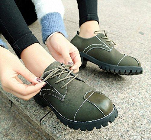 Mme de printemps de chaussures dascenseur chaussures plates rondes rétro patch tête Collège chaussures en dentelle vent femmes chaussures étudiants , US7.5 / EU38 / UK5.5 / CN38