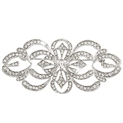 3820648552af EVER FAITH® - Art Deco Brial Broche Claro Cristal Austriaco Plata-Tono  N04247-1  Amazon.es  Joyería