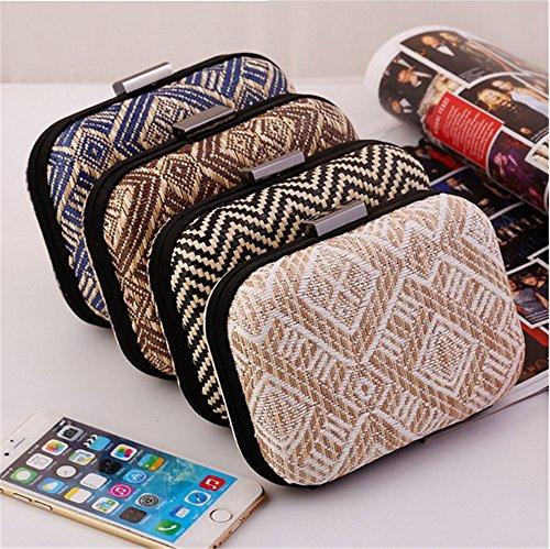 Purse Clutch Evening Hardcase Bag Geometry Straw Women's Ethnic Crochet Royal Vintage Party qHwYvO