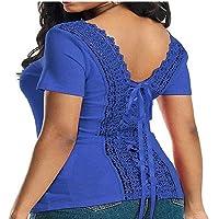 Blusa de Verano Color Sólido con Cordones de Espalda Blusa de Mujer