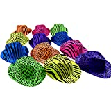 Novelty Place® [Party Stars] Neon Color Animal Zebra and Leopard Print Plastic Gangster Fedora Party Hats for Adult Teens and Kids (Pack of 24)