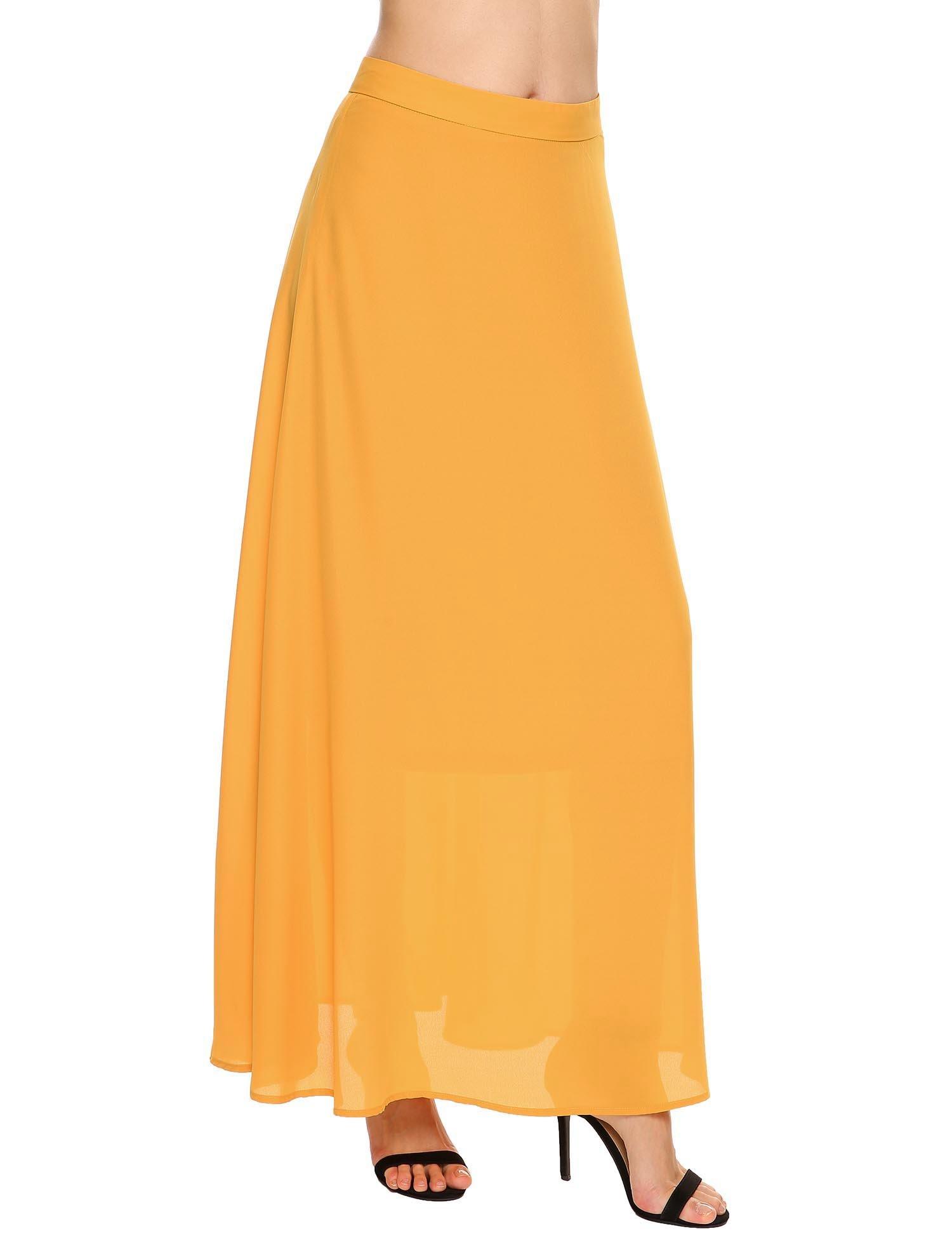 Chigant Women Classic Chiffon Maxi Long Skirt Ankle Length Beach Skirt(Not Elastic Waist), Yellow, M