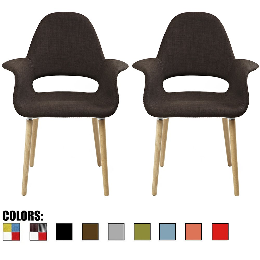 2xhome Set of 2, Brown Mid Century Modern Upholstered Fabric Organic Accent Living Room Dining Chair Armchair Set with Back Armrest Natural Light Wood Wooden Legs for Kitchen Bedroom