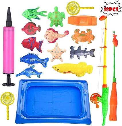 Bath Toys Fishing Toys with Fish Net Bath Game in Bathtub Bathroom Pool Bath Time for Kids Toddler Baby Boys Girls