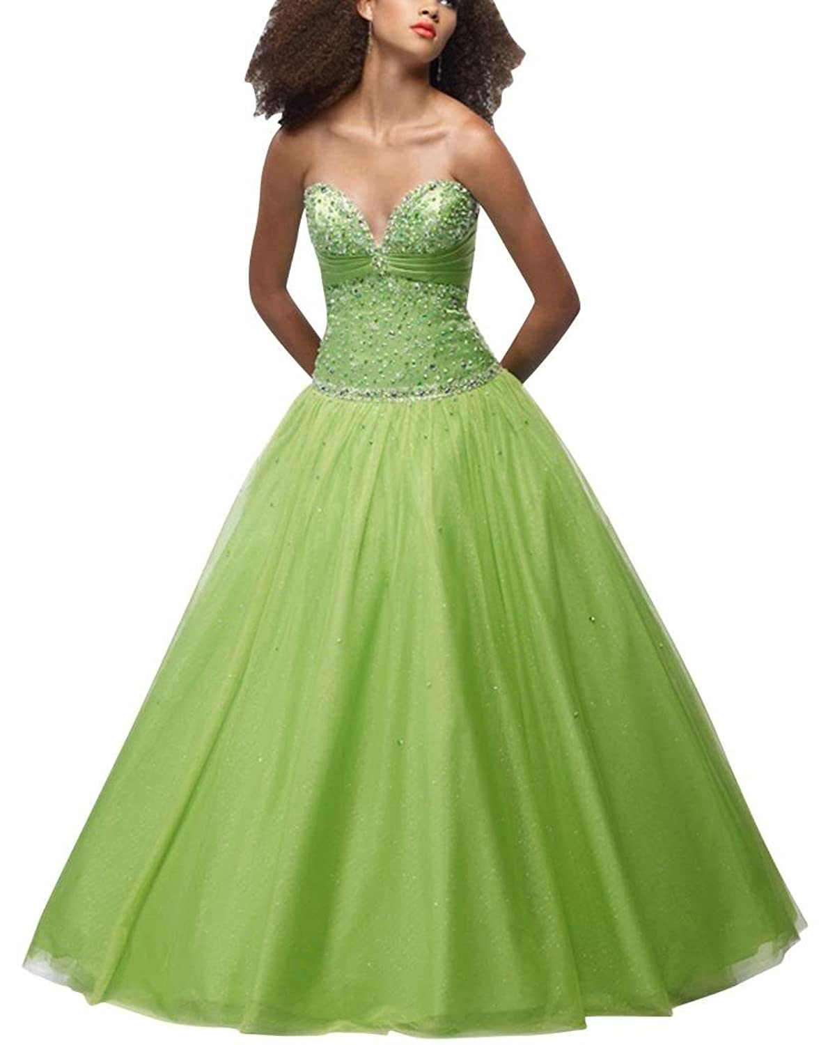 GEORGE BRIDE Green Ball Gown Sweetheart Floor-Length Tulle Prom Dress With Beaded Appliques