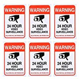 (6 Pack)24 Hour Video Surveillance Sticker 4x6in, CCTV Security Premium Self Adhesive Vinyl, Home Business Camera Alarm System Stickers, Indoor & Outdoor, UV Protected & Waterproof Use by Aboonlys