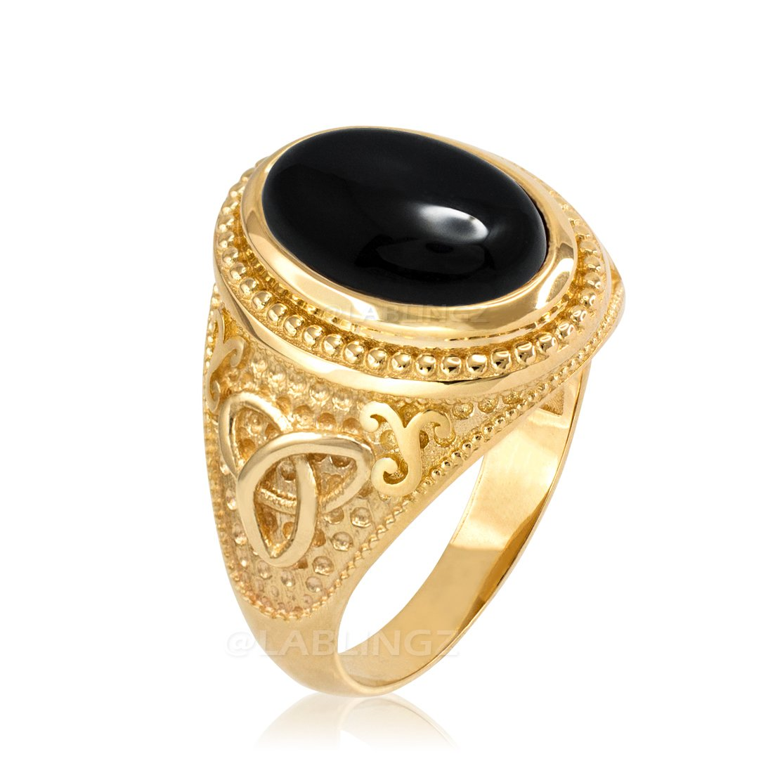10K Yellow Gold Celtic Black Onyx Gemstone Statement Ring (8)