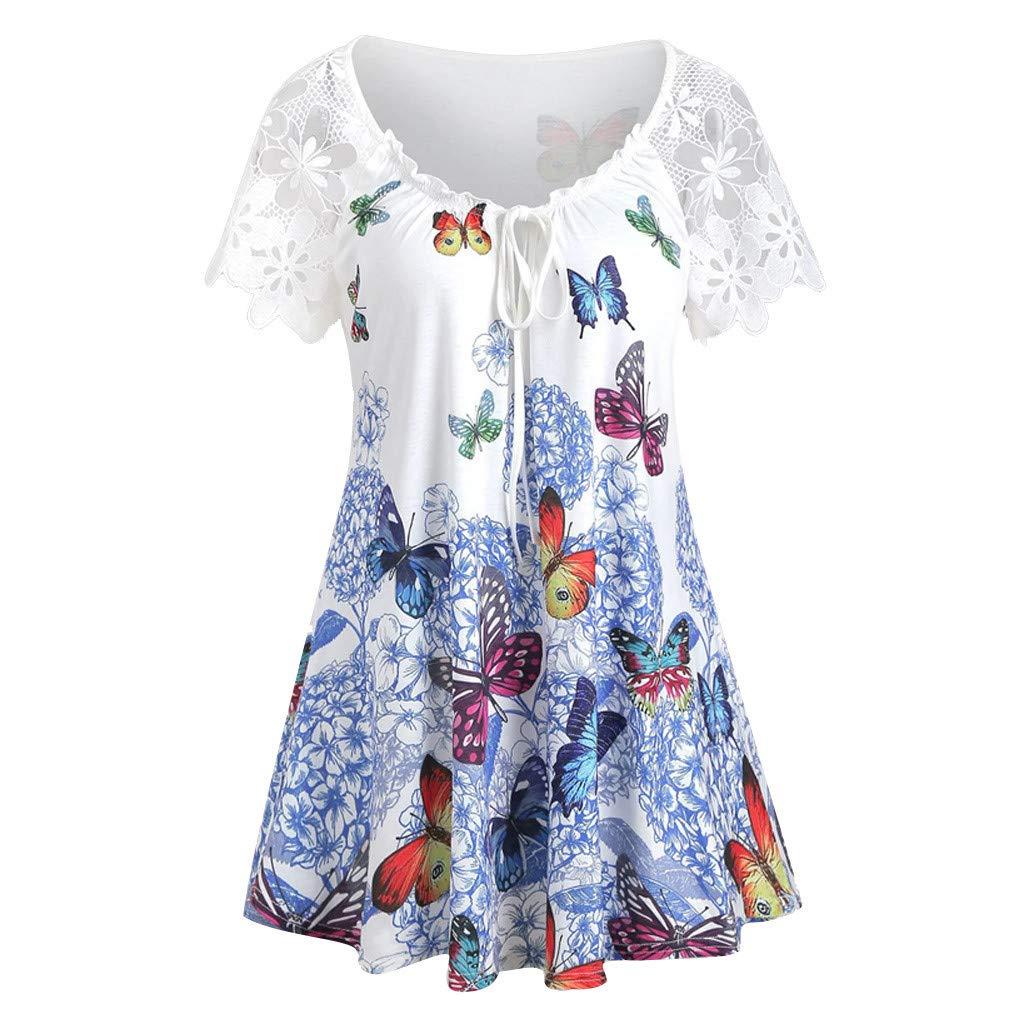 Quartly Women Summer Casual Plus Size Asymmetrical Butterfly Print Tank Top Flounce Blouse(White,L4)