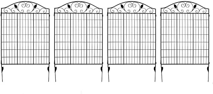 "MTB Black Coated Steel Decorative Garden Fence Panel 2 Leaves, 44"" H36 W (Pkg of 4, Linear Length 12 feet) Metal Border Folding Fence"