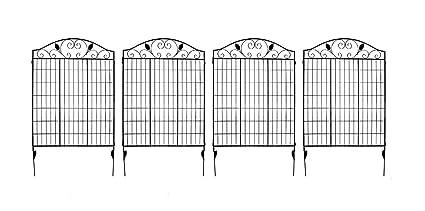 MTB Black Coated Steel Decorative Garden Fence Panel 2 Leaves, 44