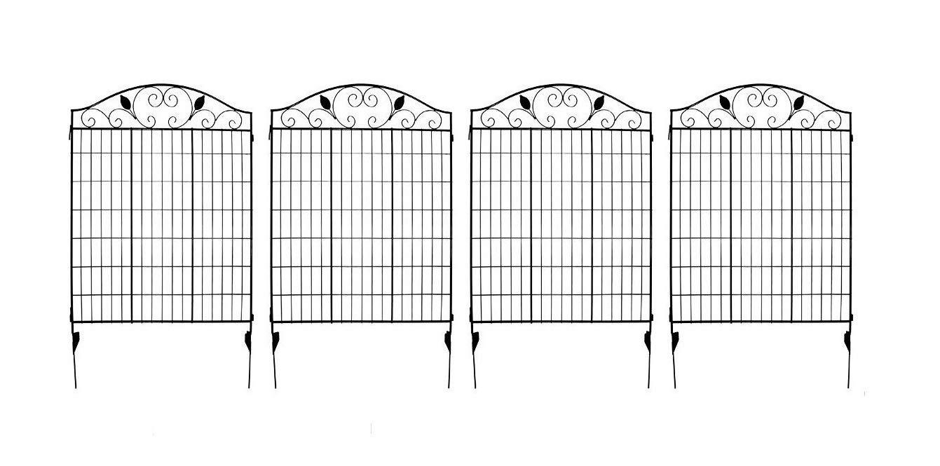 MTB Black Steel Decorative Fence Panel 2 Leaves, Metal Garden Border Folding Fences 44'' H36 W (Pkg of 4, Linear Length 12 feet)