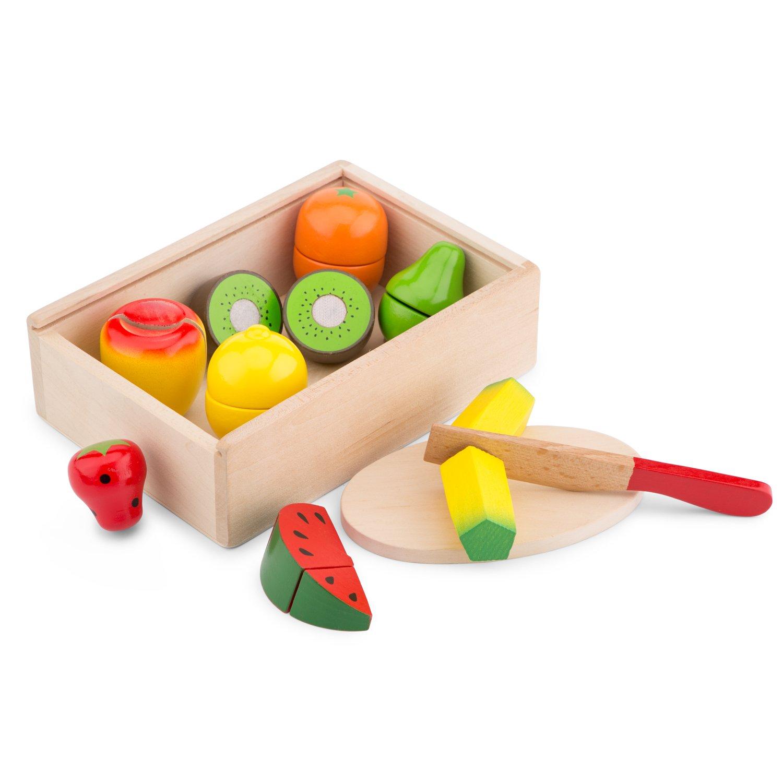 New Classic Toys - 10581 - Jeu D'imitation - Cuisine - Boîte de fruits à découper en bois - Multicolore Jeu d'imitation - Cuisine