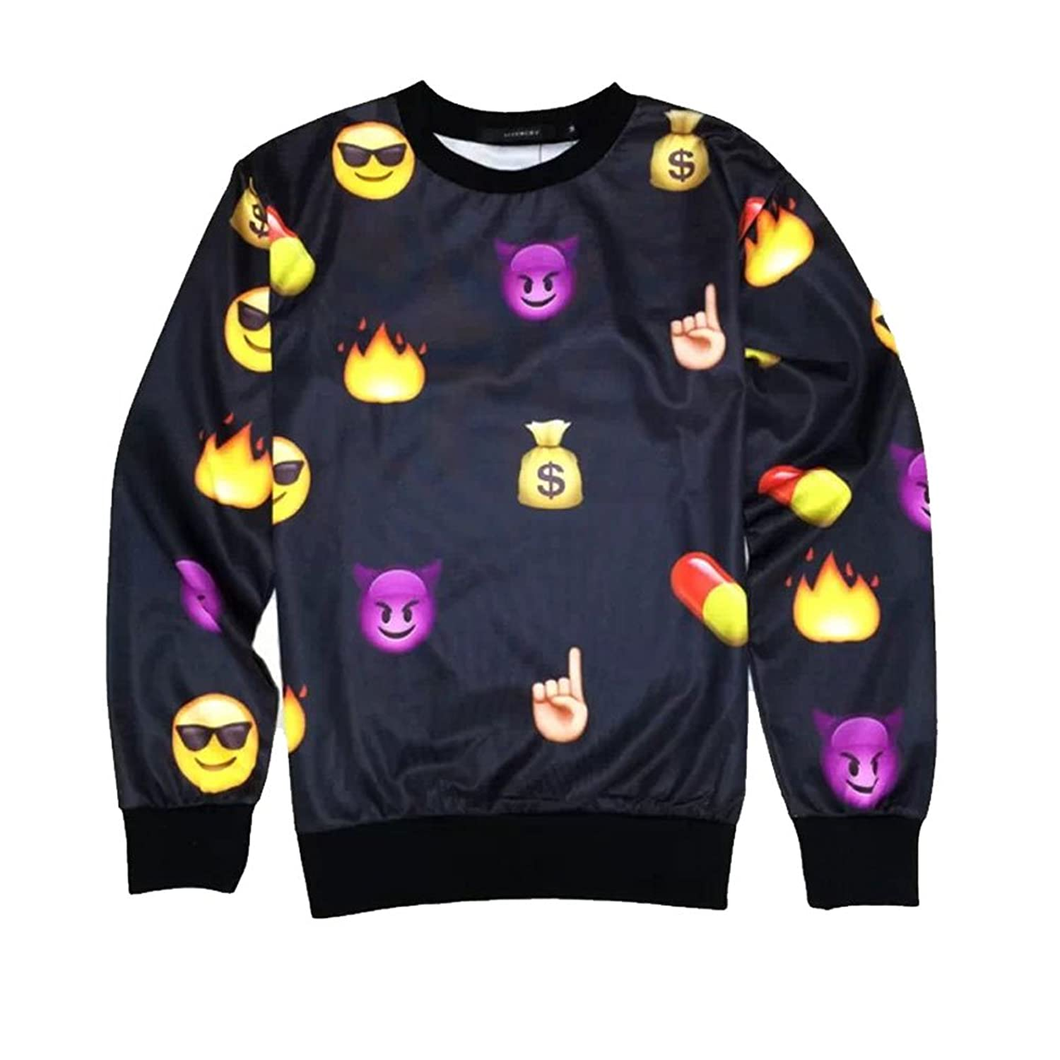 Amazon.com: Women's Black Emoji Sweater printed Cute Cartoon ...