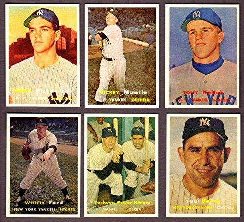 2020 Topps Basketball - New York Yankees 1957 Topps Reprint (6) Card Lot (Mickey Mantle) (Whitey Ford) (Yogi Berra) (Tony Kubek RC) (Bobby Richardson RC) (Yankees' Power Hitters)