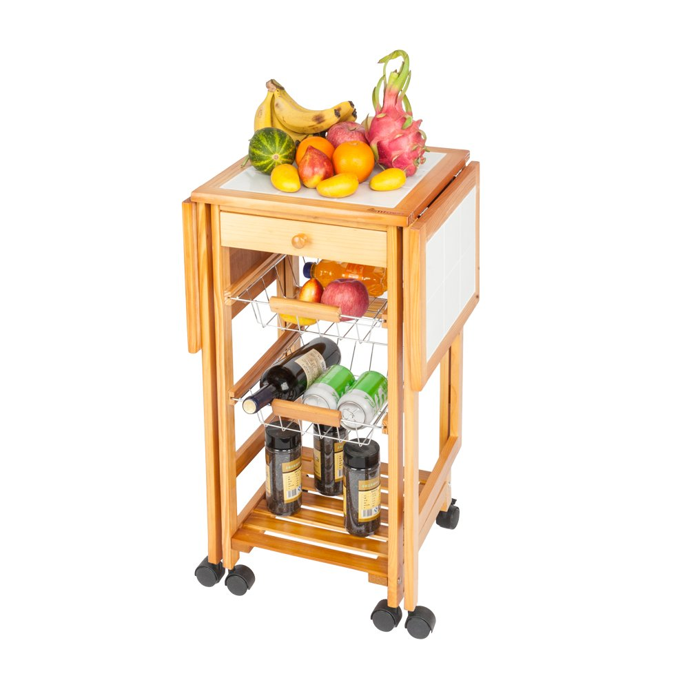 43def2c28cdd Portable Rolling Drop Leaf Kitchen Storage Trolley Cart Island White Tile  Top Folding Trolley Table with 1 Wood Drawer & 2 Steel Baskets Sapele Color