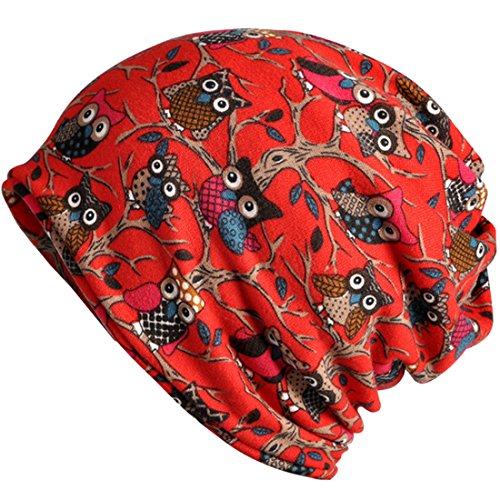 Kuyou Women's Multifunction Hat owl Skull Cap scarf (Red Plus cashmere)