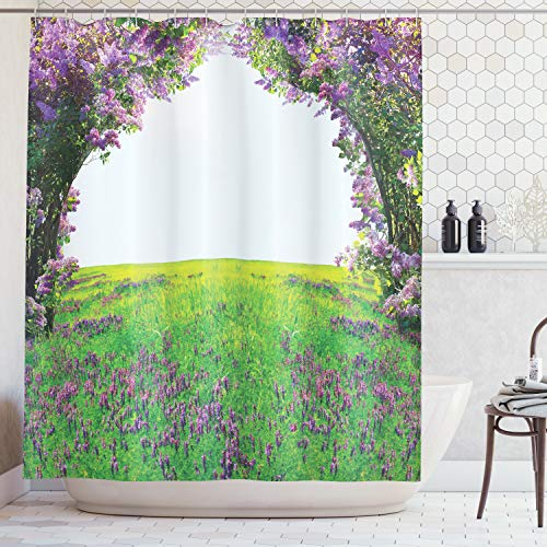 - Ambesonne Magic Home Decor Collection, Meadow Field with Violet Flowers between Trees Dream Inspirational Habitat Landscape, Polyester Fabric Bathroom Shower Curtain, 75 Inches Long, Lilac Green