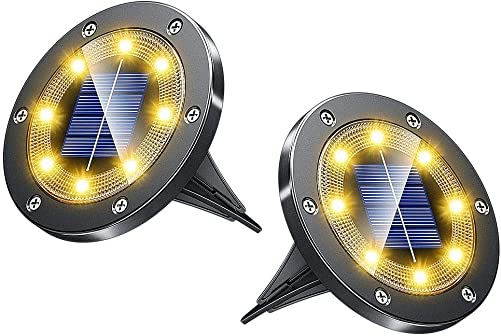 Biling Solar Lights Outdoor Grid Design Shell, Solar Powered Frosted Black Ground Lights Outdoor Waterproof, 8 LED Solar Disk Lights for Pathway Garden Yard Landscape Patio Lawn – Warm White 2 Pack