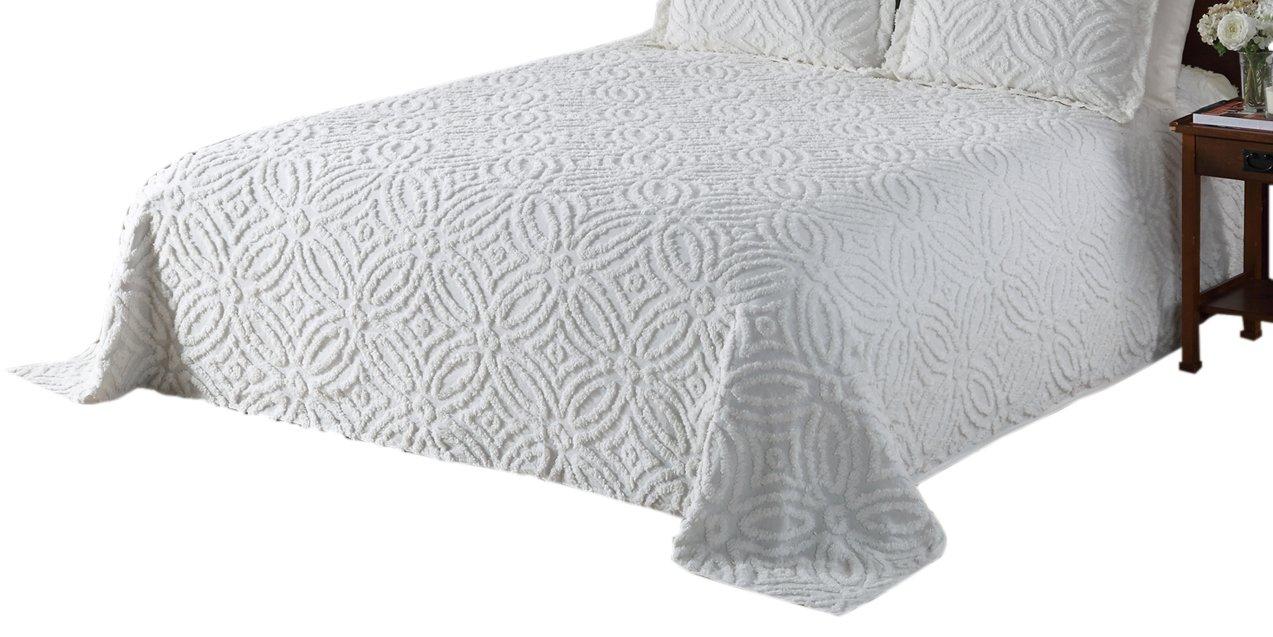 Beatrice Home Fashions Wedding Ring Chenille Standard  Pillow Sham, White