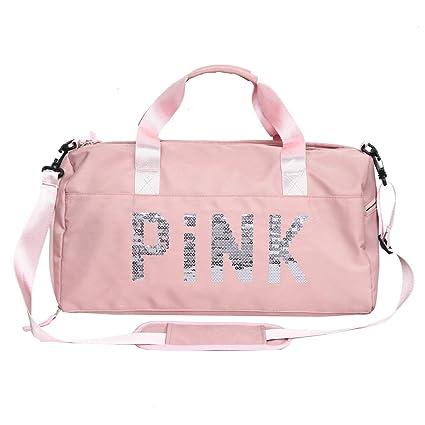 FEDUAN Pink Bolsa Deportiva Deporte de Viaje de compres con Compartimento para Zapatos Bolsillo Mojado Moda Impermeable para Hombres y Mujeres Yoga ...